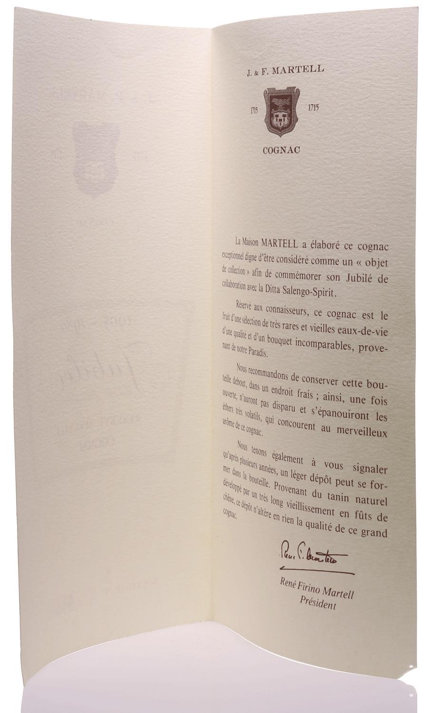 Cognac Martell Jubilee Salengo Spirit 1905 - 1980