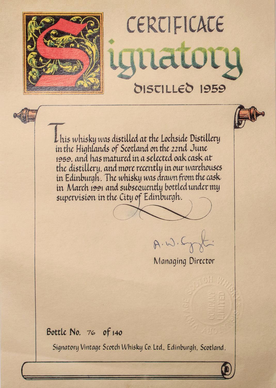 Whisky 1959 Lochside Signatory