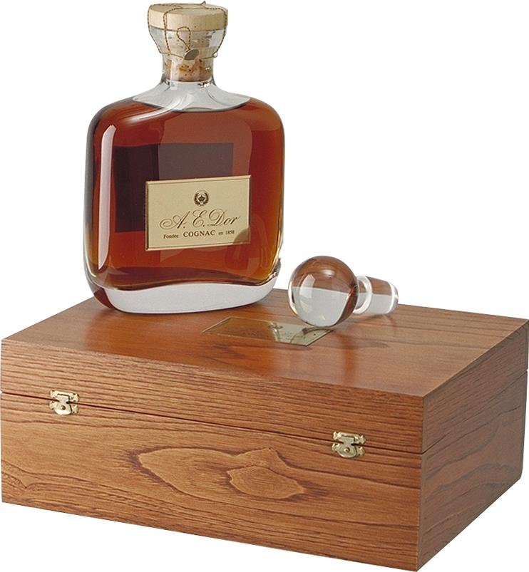 Cognac A.E. DOR Vieille, Crystal flask OWC (5057)
