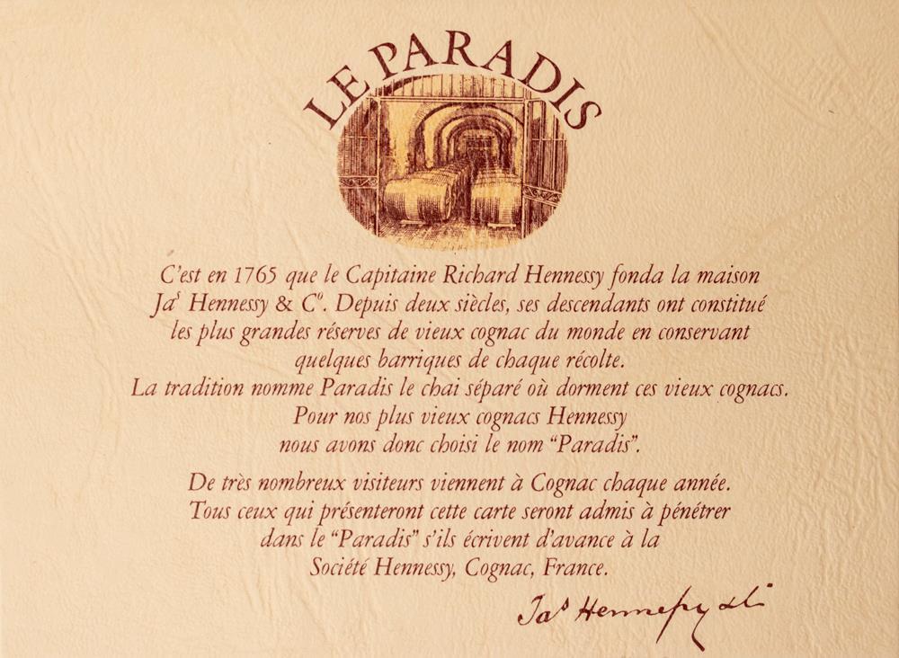 Cognac Hennessy Paradis 1979 decanter