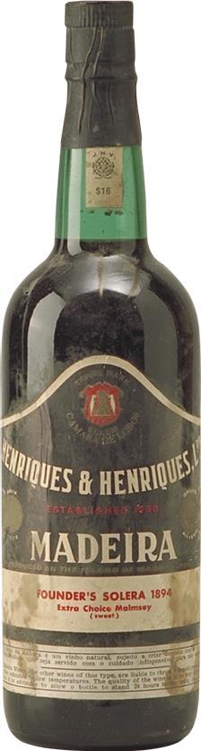 Madeira 1894 Henriques & Henriques Malmsey Solera (6742)