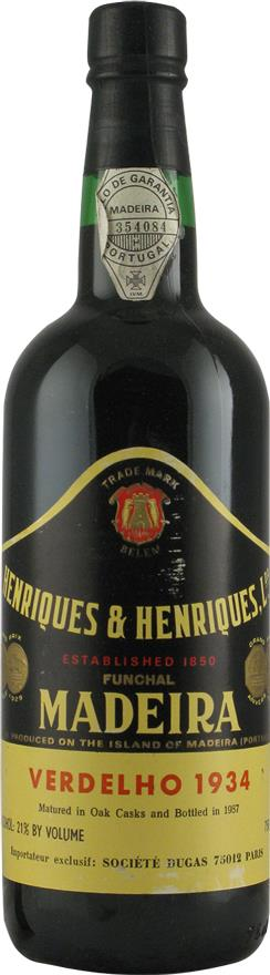 Madeira 1934 Henriques & Henriques, Matured in Oak Casks (2155)