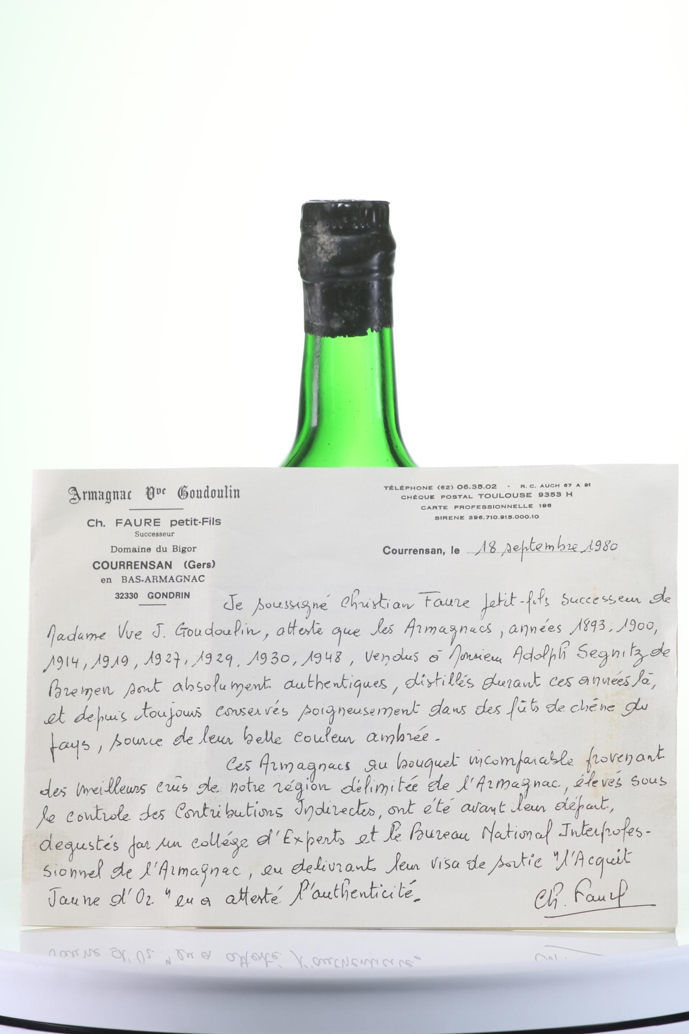 Armagnac 1929 Goudoulin Veuve J.